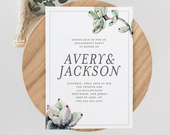 Succulent Engagement Party Invitation, INSTANT DOWNLOAD, 100% Editable Text, Printable Engaged Announcement, Watercolor Cactus  #048-117EP