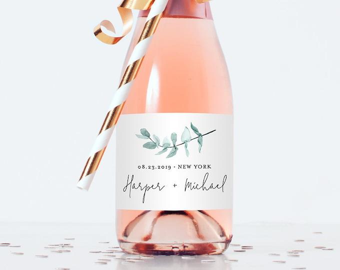Mini Champagne Bottle Label Template, Wedding / Bridal Shower Favor Sticker, Eucalyptus Greenery, Instant Download, Editable Text #049-105ML