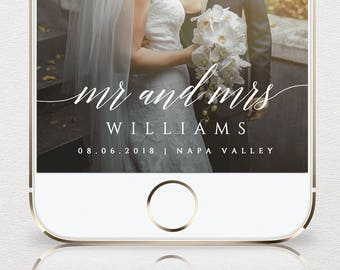 SnapChat Geofilter, Wedding SnapChat Filter, Instant Download, Mr and Mrs, 100% Editable Template, Unlimited Use & Customization  #034-103GF