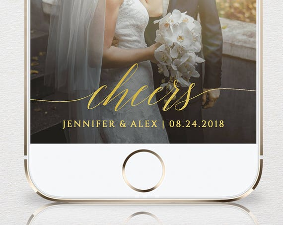 Gold SnapChat Geofilter, Wedding SnapChat Filter, Cheers, Faux Gold, Fully Editable Template, Instant Download, Templett #034-106GF