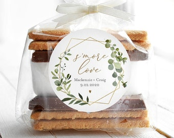 """S'mores Label Template, Wedding / Bridal Shower S'mores Favor, Greenery S'More Love Sticker, Instant Download, Templett, 2""""x2"""" #056-131SF"""