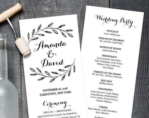 Rustic Wedding Program Template, Instant Download, Order of Service, Printable Wedding Ceremony Program, Editable, Laurel Leaves #NC-203WP