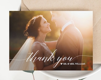 Wedding Photo Thank You Card, Custom Thank You Card, Folded & Flat, 100% Editable Template, Instant Download, Templett, DIY #034-103TYC