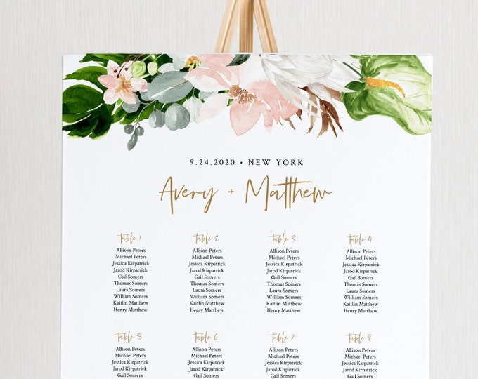 Tropical Seating Chart Template, Wedding Seating Sign, Alphabetical & Table Number Order, 100% Editable Text, INSTANT DOWNLOAD #079-245SC