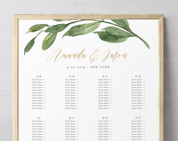 Wedding Seating Chart Template, Alphabetic Order, Printable Greenery & Gold Seating Sign, 100% Editable Text, INSTANT DOWNLOAD #067-229SC