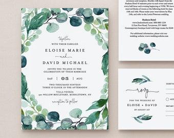 Wedding Invitation Set Template, Watercolor Eucalyptus Greenery, Garden Wedding, INSTANT DOWNLOAD, 100% Editable Text, Templett, DIY #068B2