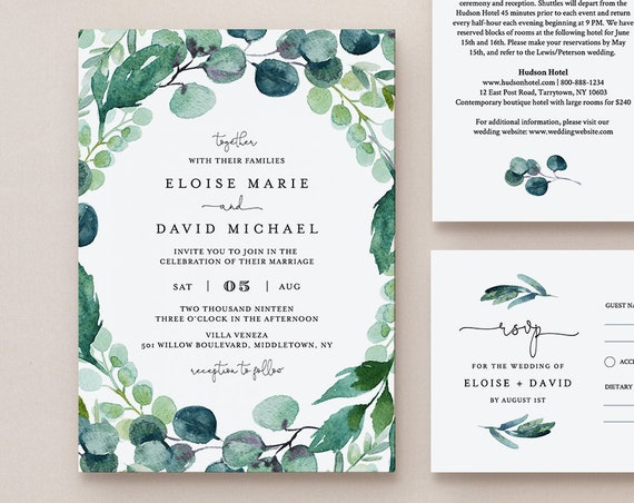 Wedding Invitation Set Template, Watercolor Eucalyptus Greenery, Garden Wedding, INSTANT DOWNLOAD, 100% Editable Text, Templett, DIY #068A