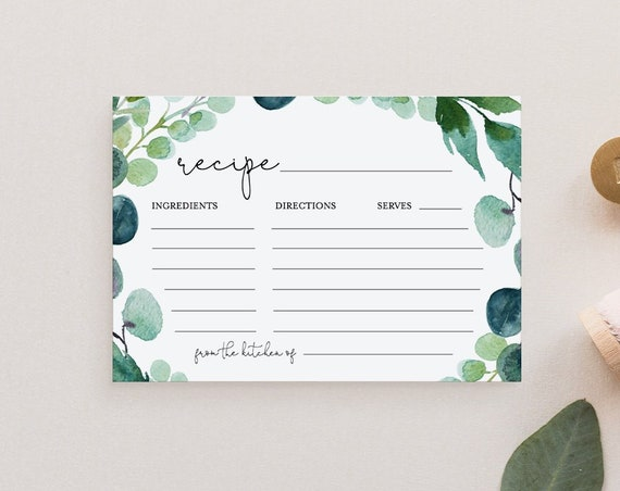 "Recipe Card Printable, Bridal Shower Recipe Insert, Boho Garden Greenery, Instant Download, Editable Template, Templett, 5""x3.5"" #068-105RC"