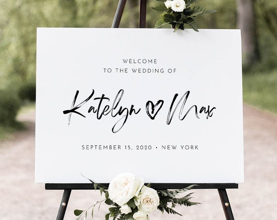 Modern Welcome Sign, Printable Minimalist Heart Wedding or Bridal Shower Poster, Instant Download, Editable Template, Templett #090-189LS