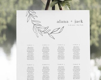 Laurel Seating Chart Poster, Printable Fine Art Wedding Seating Sign, Minimalist, Instant Download, Editable Template, Templett #0006B-273SC
