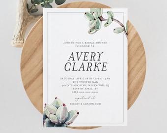 Bridal Shower Invitation Template, Succulent Wedding Shower Invite,  INSTANT DOWNLOAD, 100% Editable Text, Printable, Boho Bride #048-137BS