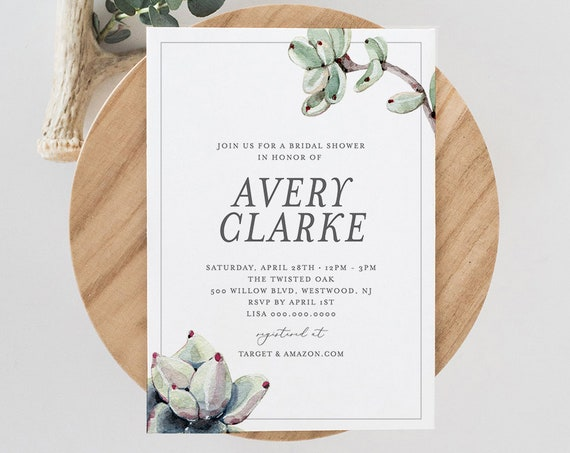 Bridal Shower Invitation Template, Succulent Wedding Shower Invite,  INSTANT DOWNLOAD, 100% Editable Text, Printable, Boho Bride #048-137BS