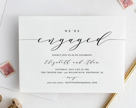 Engagement Party Invitation Printable, INSTANT DOWNLOAD, 100% Editable template, We're Engaged, Modern Calligraphy, Simple, Kraft #037-112EP