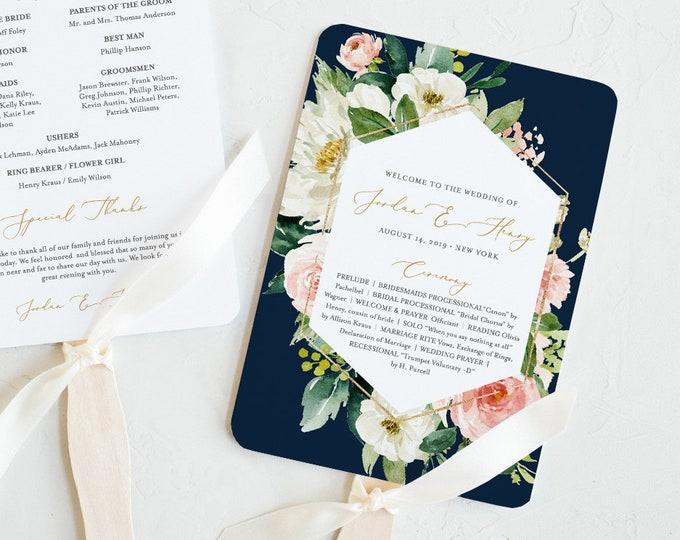 Wedding Program Template, INSTANT DOWNLOAD, Printable Order of Service, 100% Editable, DIY, Boho Navy Blush Florals, Fan or Flat #043-411WP