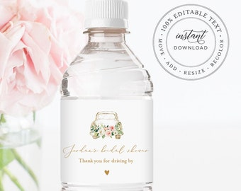 Water Bottle Label Template, Drive By Bridal Shower, Baby Shower Label, Printable Water Sticker,  Instant Download, Templett #043-121BL
