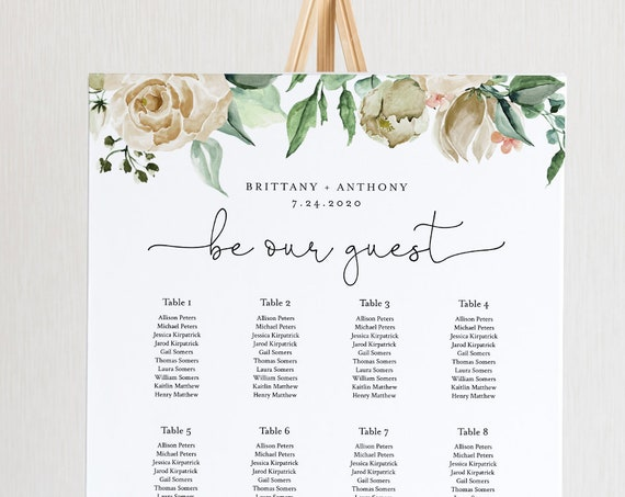 Wedding Seating Chart Template, Romantic Rose Seating Sign, 100% Editable Text,  Instant Download, Templett, US & UK Sizes #057-246SC