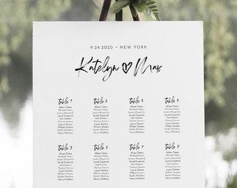 Modern Seating Chart Template, Wedding Seating Plan, Minimalist Bridal Shower Seating Chart, Editable, Templett, US & UK Sizes #090-251SC