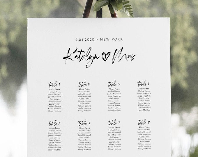 Modern Seating Chart Template, Wedding Seating Plan, Minimalist Bridal Shower Seating Chart, Editable, Templett, US & UK Sizes #090-251SC
