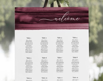 Burgundy Watercolor Seating Chart Poster, Wedding Seating Sign, Instant Download, Editable Template, Templett US & UK Sizes #093B-263SC