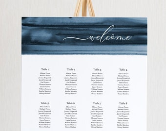 Navy Watercolor Seating Chart Poster, Printable Wedding Seating Sign, Instant Download, Editable Template, Templett US & UK Sizes 093A-256SC