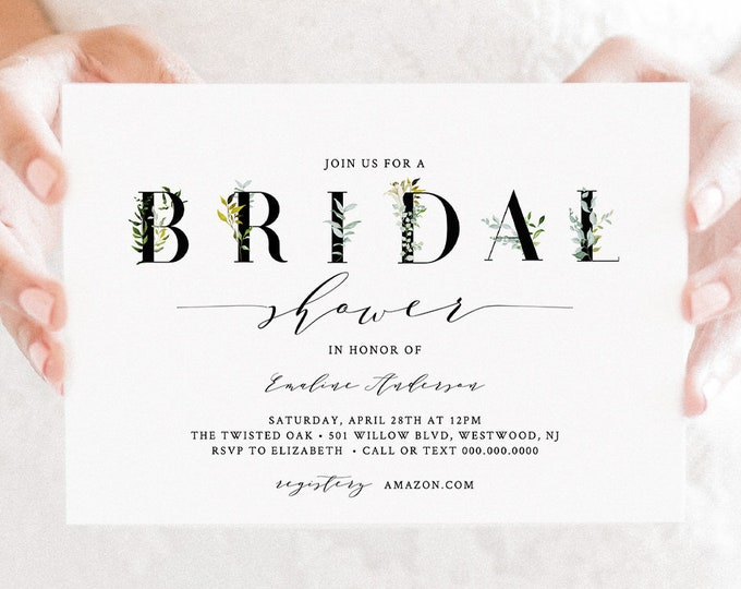Greenery Bridal Shower Invitation Template, INSTANT DOWNLOAD, Printable Bridal Shower Invite, 100% Editable Text, DIY, Templett #016-152BS