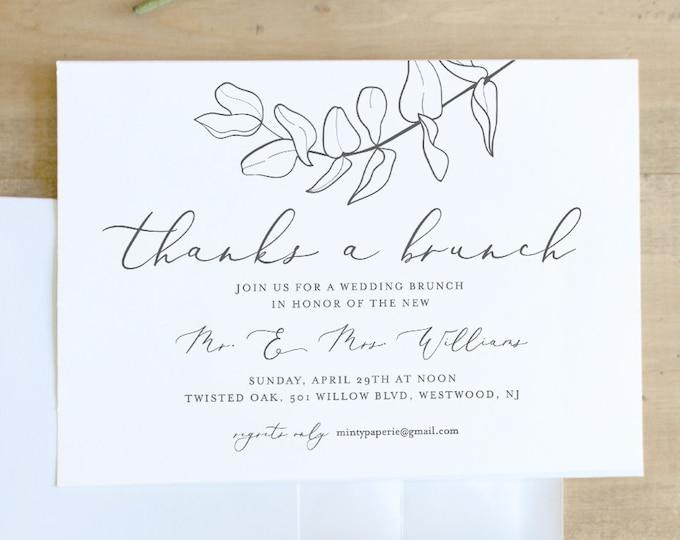 Self-Editing Wedding Brunch Invitation Template, INSTANT DOWNLOAD, 100% Editable, Printable Eucalyptus Post Wedding Brunch Invite #051-105BR