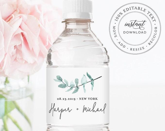 Water Bottle Label Template, INSTANT DOWNLOAD, Printable Custom Label, 100% Editable, Greenery Wedding Favor, Bridal Shower Favor #049-109BL
