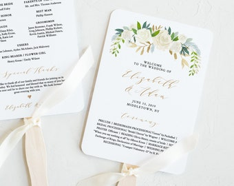 Wedding Program Printable, Fan or Flat Program, INSTANT DOWNLOAD, Order of Service Template, Editable, Neutral Greenery Florals #021-406WP
