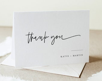 Minimalist Thank You Folded Card Printable, Modern Wedding / Bridal Shower Note, Editable Template, INSTANT DOWNLOAD, Templett #0009-182TYC