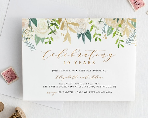 Vow Renewal Invitation Printable, Anniversary Invite Template, INSTANT DOWNLOAD, Fully Editable Template, Neutral Floral, Gold #021-110VR