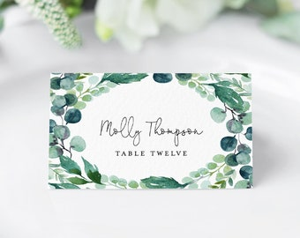 Wedding Place Card Template, Printable Escort Card, DIY Name Card, Watercolor Greenery, INSTANT DOWNLOAD, Editable Text, Templett 068B-125PC