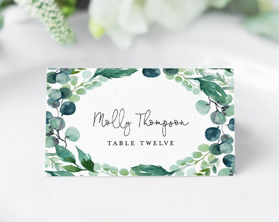 Wedding Place Card Template, Printable Escort Card, DIY Name Card, Watercolor Greenery, INSTANT DOWNLOAD, Editable Text, Templett #068-125PC