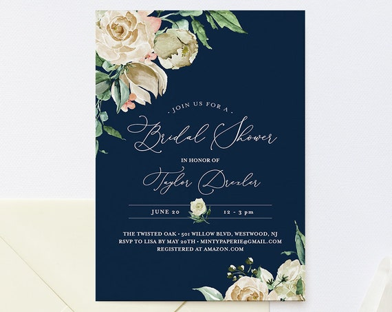 Navy & Cream Bridal Shower Invitation Template, INSTANT DOWNLOAD, Printable Vintage Floral Wedding Shower Invite, Editable Text #160BS