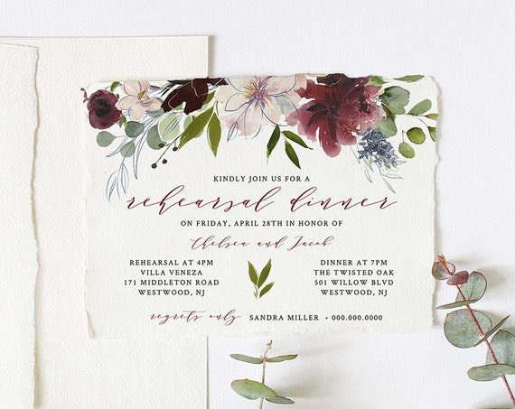 Rehearsal Dinner Invitation Template, INSTANT DOWNLOAD, Printable Watercolor Floral Wedding Rehearsal Invite, 100% Editable #040-121RD