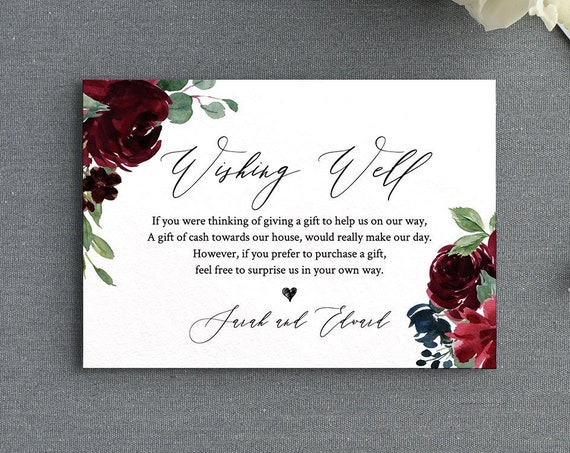 Wishing Well Card, Editable Template, Wedding Wishing Well Poem, Gift Request Insert, Boho Floral, INSTANT DOWNLOAD, Templett #062-123EC