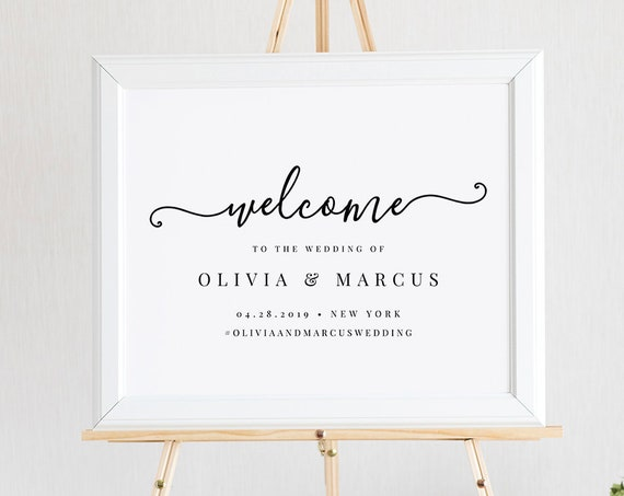 Welcome Sign Template, Wedding or Bridal Shower Welcome Poster, 100% Editable Text, Instant Download, Templett, 18x24 and 24x36 #136LS