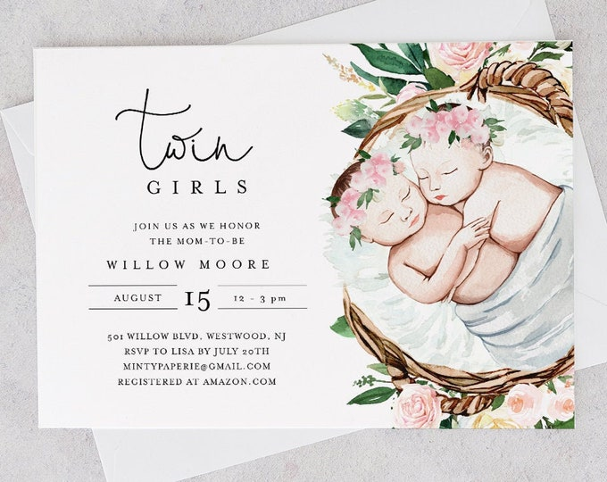 Twins Baby Shower Invitation Template, Printable Twin Girls Baby Shower Invite, 100% Editable Text, Instant Download, Templett #0005-177BA