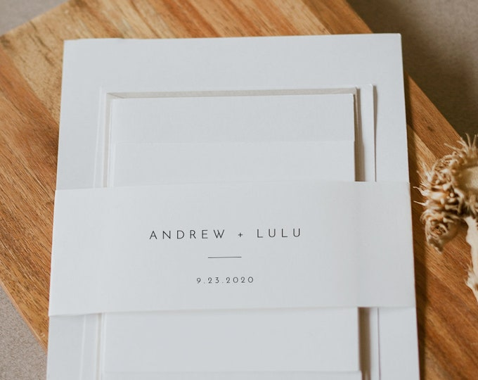 Minimalist Belly Band Printable, DIY Modern Wedding Invitation Wrap, 100% Editable Template, Instant Download, Templett #094-112BB