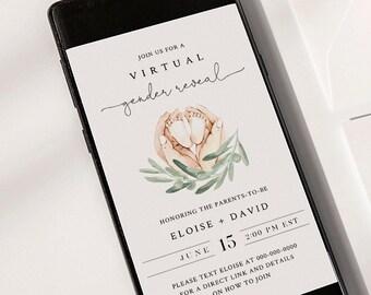Virtual Gender Reveal Invitation Template, Social Distance Gender Reveal, 100% Editable, Instant Download, Templett #0005-105GR