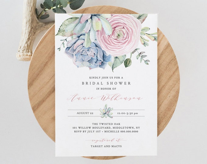 Bridal Shower Invitation Template, Printable Couples Shower Invite,  INSTANT DOWNLOAD, 100% Editable, Succulent, Boho Cactus, DIY #041-146BS