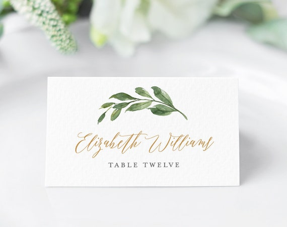 Greenery Place Card Template, Printable Wedding Escort / Seating Card, Name Card, INSTANT DOWNLOAD, 100% Editable Text, Templett #067-124PC