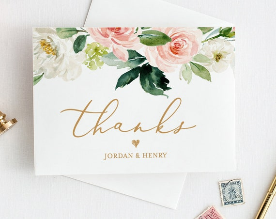 Wedding Thank You Card Template, INSTANT DOWNLOAD, 100% Editable Text, Printable, Blush floral, Boho Wedding, Folded Card, DIY #043-106TYC