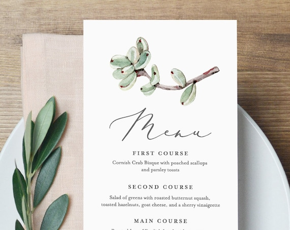Succulent Wedding Menu Template, Printable Dinner Menu Card, INSTANT DOWNLOAD, 100% Editable, Cactus Boho Wedding, Templett, DIY #048-125WM