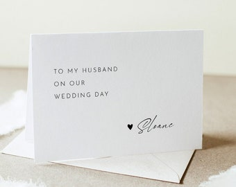 Minimalist Wedding Day Note, To My Groom / Bride On Our Wedding Day, Folded Note Card, Editable Template, Instant Download, DIY #0023-106WDN