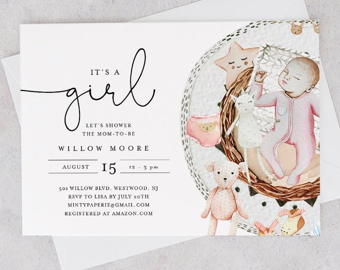 It's a Girl Baby Shower Invitation Template, Girl Baby Shower Invite, 100% Editable Text, Printable, Instant Download, Templett #0005-180BA