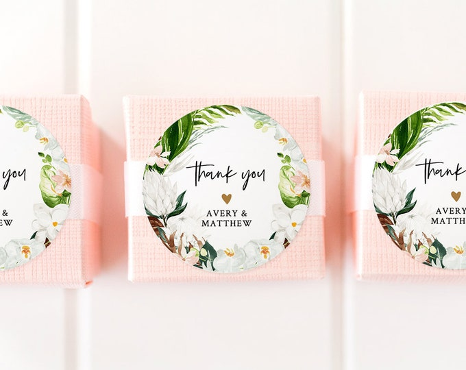 Tropical Favor Tag Template, Wedding or Bridal Shower Thank You Tag / Label, Instant Download, Editable, Circle or Square #079-105SF