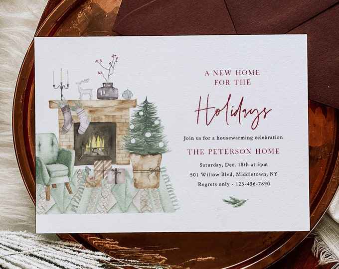 Holiday Housewarming Invitation Template, New Home Announcement, Christmas Party, Editable, Instant Download, Templett #032-114HP