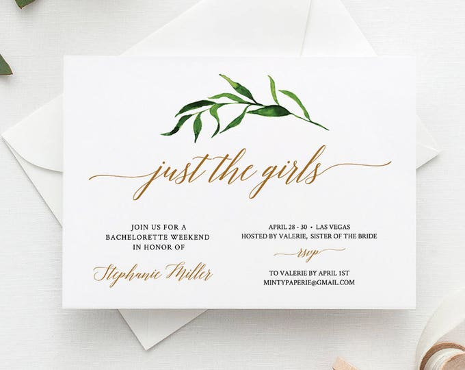 Bachelorette Party invitation & Itinerary, Bachelorette Weekend Invite Template, Editable, Instant Download, Printable, Greenery #013-105BP