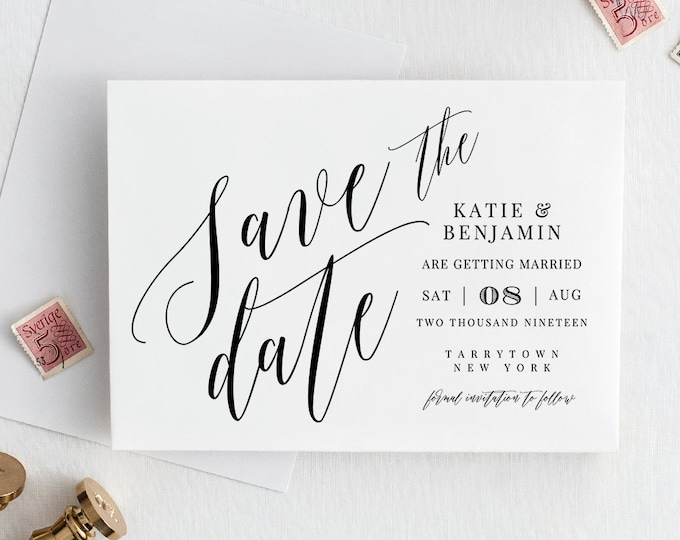 Save the Date Template, Printable Wedding Date Postcard, INSTANT DOWNLOAD, 100% Editable, Modern Calligraphy, Templett #038-111SD