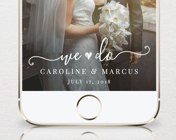 "Self-Editing Wedding Geofilter for SnapChat, INSTANT DOWNLOAD, 100% Editable Template, Custom ""We Do"" Snapchat Filter, Templett #030-101GF"